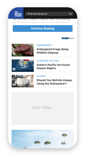Taboola Feed Preview on The Weather Channel